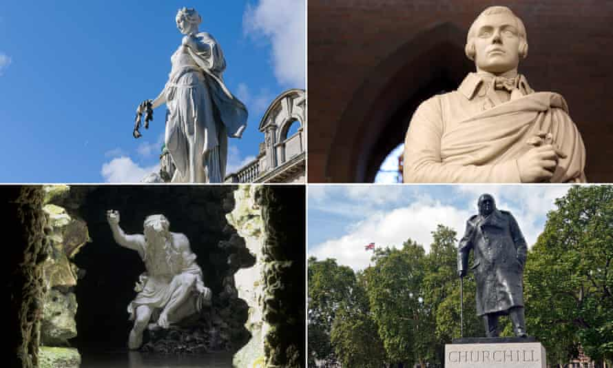 Clockwise from top left: Belfast's Titanic Memorial, Robert Burns, Winston Churchill, the River God,