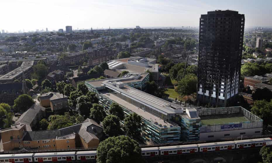 The remains of the charred Grenfell Tower, where the death toll has reached 17 but is expected to rise.