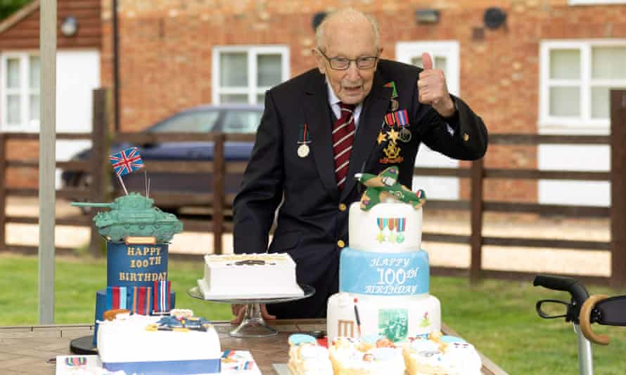 Captain Tom Moore, on his 100th birthday. He raised £33m for NHS Charities Together with his walk that captured the nation's imagination