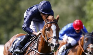 Ryan Moore steers Alice Springs to victory in the Falmouth Stakes at Newmarket on Friday.