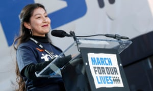 California high school student Edna Chavez speaks onstage at the rally.