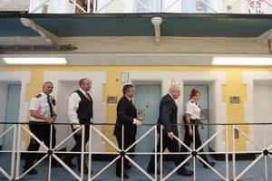 Leeds, England Boris Johnson is taken on a tour during a visit to Leeds prison