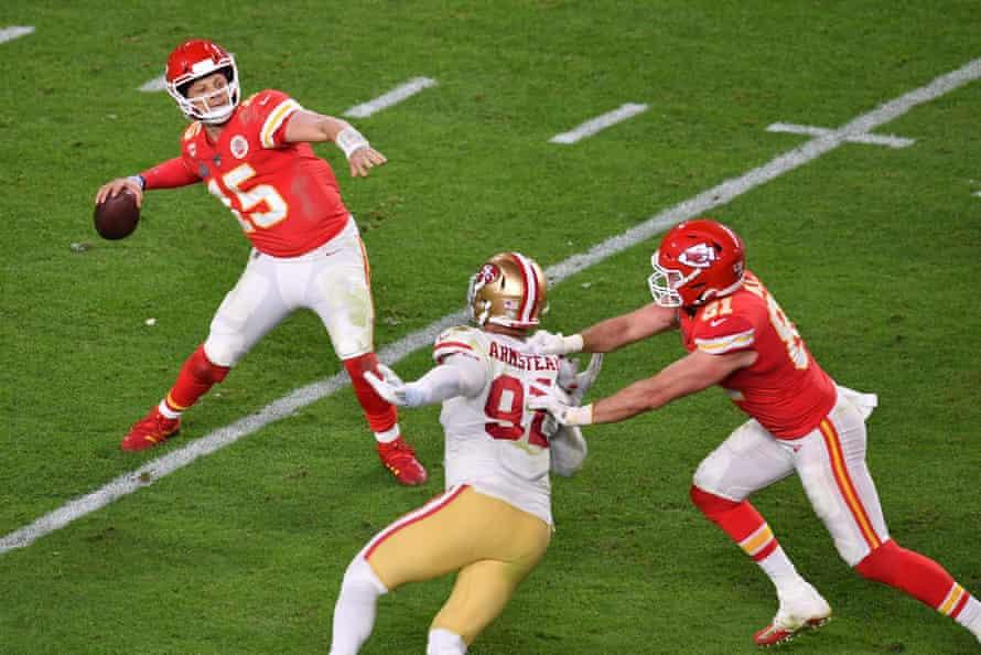 Kansas City Chiefs quaterback Patrick Mahomes passes the ball during Super Bowl LIV between the Kansas City Chiefs and the San Francisco 49ers.
