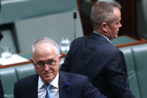 Prime minister Malcolm Turnbull and opposition leader BIll Shorten during a division in question time in the house of representatives in parliament house Canberra, 21st June 2018.