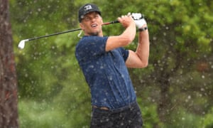 Tom Brady plays a shot on the 11th during The Match: Champions For Charity event in Florida