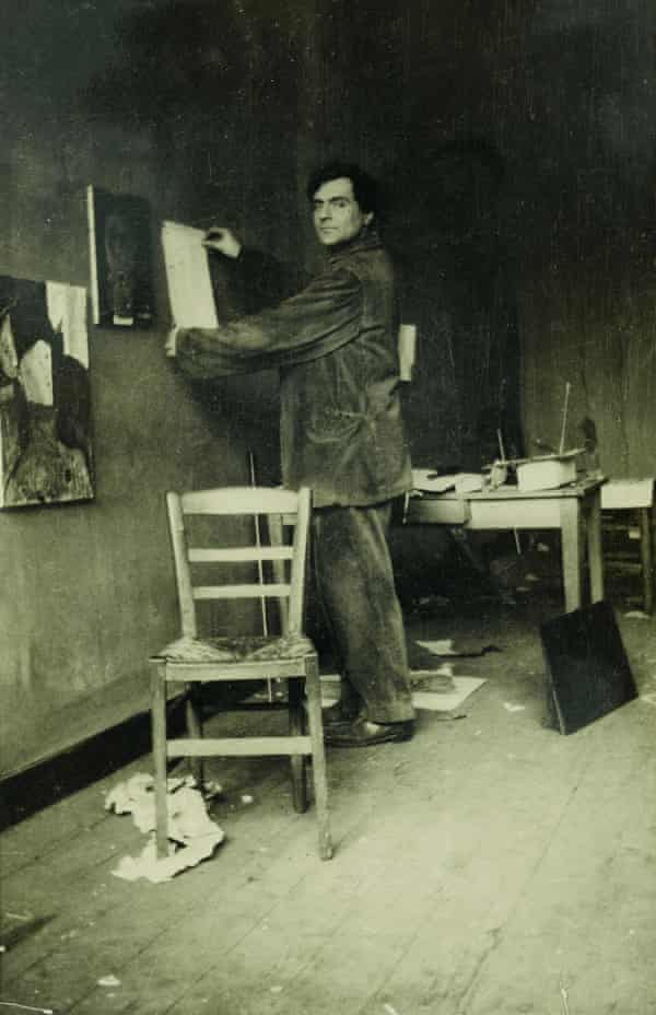 Modigliani in his studio, photographed by Paul Guillaume, c1915.