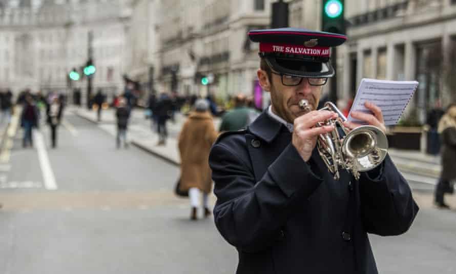 A Salvation Army musician in Regent Street, London