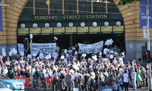 A rally in front of Flinders St train station in Melbourne, Friday, 5 February 2016. The rally is in response to a number of children who are to be send from Australia back to Nauru and Manus Island detention centres.