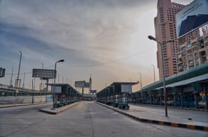 An empty bus station in central Cairo just before curfew  on 20 April