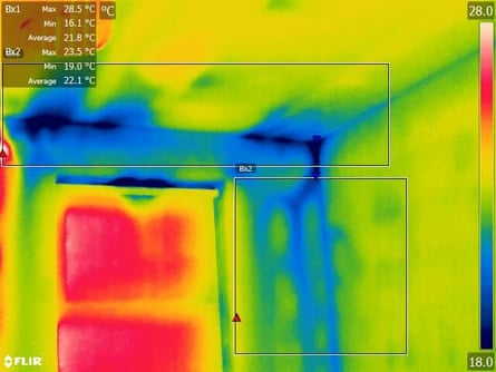 Thermal imaging picture showing gaps in plasterboard