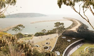 Artist's rendering of a proposed semi-open sea sanctuary for dolphins raised in captivity in Coffs Harbour.