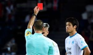 Olympique Marseille's Dario Benedetto was sent off in last night's game.