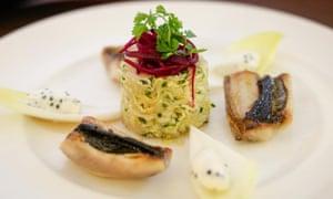Close-up of vegetable dish at Restaurant Graindorge, Paris