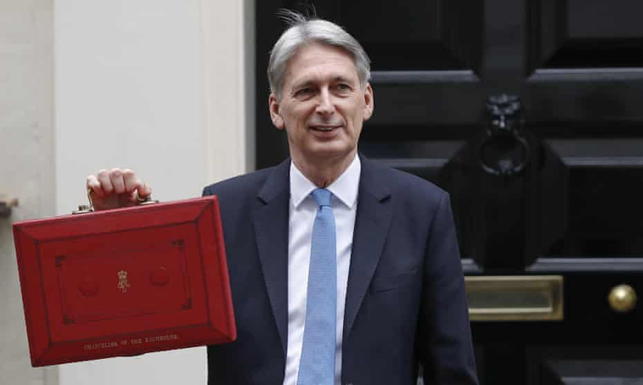 Britain's Chancellor of the Exchequer Philip Hammond poses for the media as he holds up the traditional red dispatch box, outside his official residence 11 Downing Street, before delivering his annual budget speech to Parliament