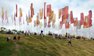 Waving flags at Glastonbury.
