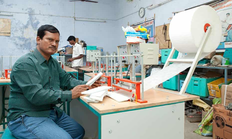 Arunachalam Muruganantham with his low-cost sanitary towel machine.