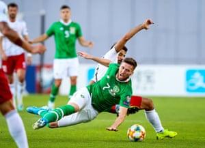 Ireland's Matt Doherty with Tornike Okriashvili of Georgia.