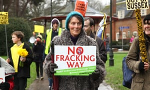 An anti-fracking march through Horsham in Sussex in January 2016. The more people know about fracking the more they oppose, polling finds.