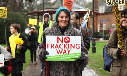An anti-fracking protester
