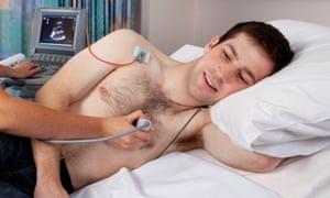 Man undergoes echocardiagram