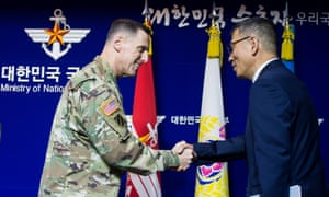 South Korean deputy defence minister for policy Yoo Jeh-seung with the commander of US forces Lt Gen Thomas Vandal