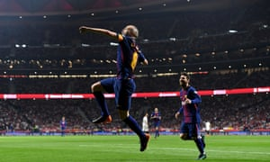 Andrés Iniesta celebrates after scoring a fairytale goal against Sevilla in his last cup final for Barcelona.