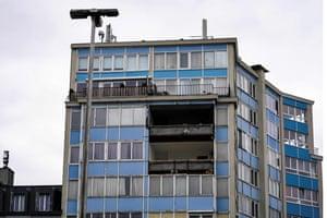 Un edificio danneggiato a Bruxelles, in Belgio