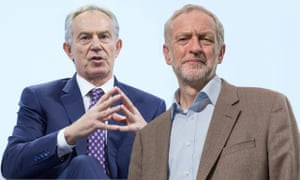 Tony Blair, left, has argued for a political alliance to facilitate a second referendum. Right: Jeremy Corbyn