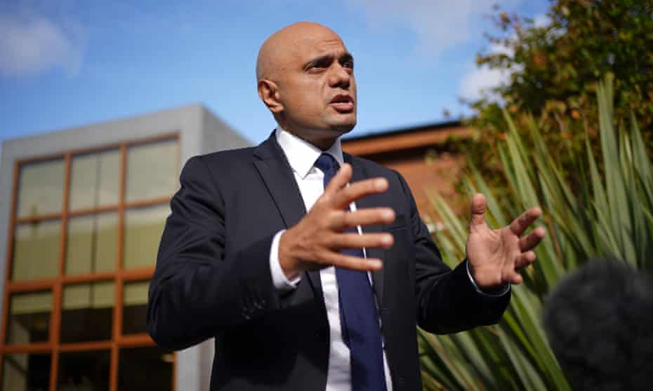 Health Secretary Sajid Javid speaking to media during a visit to the Vale Medical Centre in Forest Hill, London.