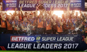 Castleford Tigers celebrate winning the League Leaders' Shield after their win over Wakefield Trinity.