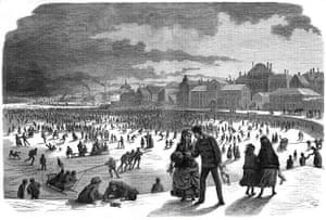 Ice skating in Stockholm harbour in the 19th century.