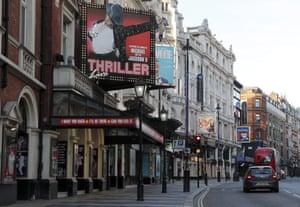 An empty Shaftesbury Avenue in London.