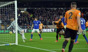Willy Boly stoops  to head into the net only for VAR to intervene