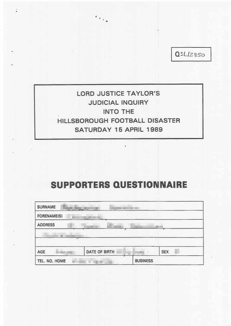 A questionnaire from the Taylor Inquiry, displaying the words 'Judicial Inquiry'.