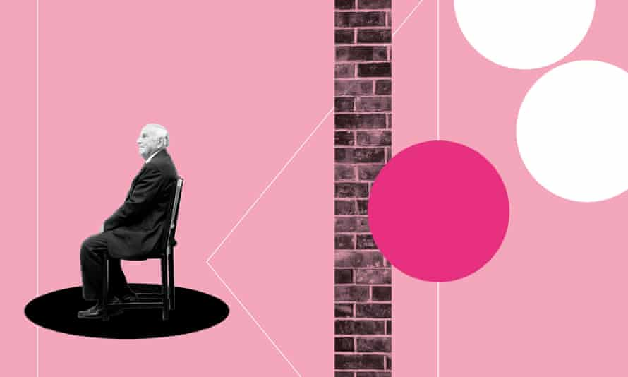 Old man sitting in chair alone illustration