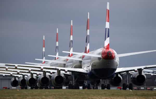 British Airways planes parked on the tarmac at Glasgow Airport in March 2020.
