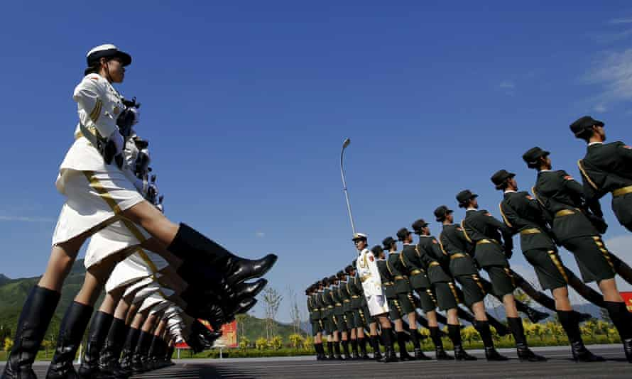 Chinese soldiers rehearse under unusually clear skies in Beijing ahead of a huge military parade on 3 September to mark the end of the second world war.