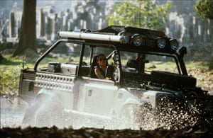 Angelina Jolie drives a Land Rover as Lara Croft in the 2001 action movie