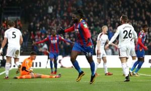 Bakary Sako runs towards the fans to celebrate after giving Crystal Palace the lead against Burnley at Selhurst Park.
