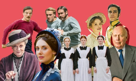 Clockwise from top left: The English Game; Belgravia; Julian Fellowes; Downton Abbey; Doctor Thorne; more Downton.