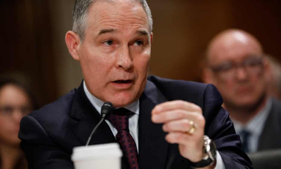 Scott Pruitt testifies on Capitol Hill. The Oklahoma attorney general has sued the EPA 14 times over regulations.