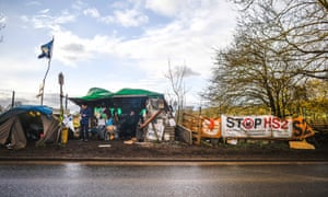 Activists at an anti-HS2 camp in Harefield in January 2020