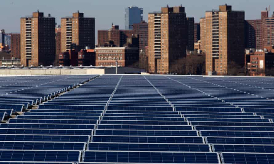 Solar panels on a rooftop at the Brooklyn Navy Yard in New York.