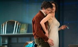 Intemperate feelings … Tom Burke and Helen McCrory in The Deep Blue Sea.