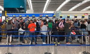 Queues at Heathrow on Friday.