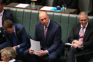 Home affairs minister Peter Dutton during a clash with speaker Tony Smith during question time