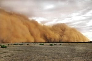 A dust storm in Mullengudgery, NSW, caused by a prolonged drought.