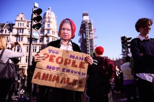 A girl wearing a paper mask of the Queen in Parliament Square