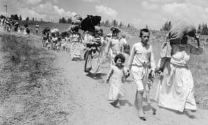 Palestinian refugees near Haifa in 1948.
