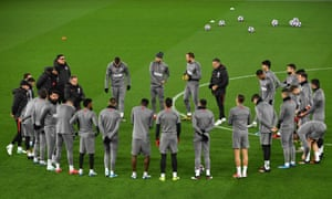 Atletico Madrid's players train at Anfield before the second leg.